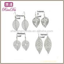 2013 Online Großhandel Blatt Design baumeln Ohrringe Edelstahl Modeschmuck Hersteller