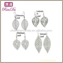 2013 Online Wholesale Leaf Design Dangle Earrings Stainless Steel Fashion Jewelry Manufacturer