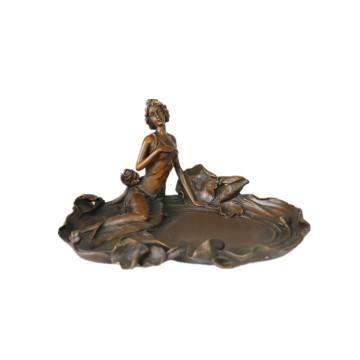 Weibliche Figur Bronze Skulptur Lotus Dame Indoor Decor Messing Statue TPE-497 (B)