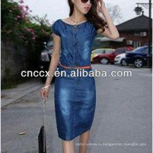 13CD1145 новейший дизайн синий деним платье для женщин