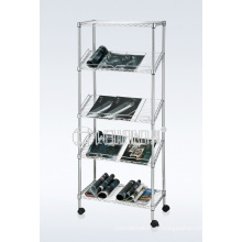DIY 5 Tiers Slanted Chrome Stahldraht Magazin / Buch Display Rack Holder (CJ-B1196)