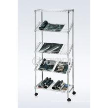DIY 5 Tiers Slanted Chrome Steel Wire Magazine/Book Display Rack Holder (CJ-B1196)
