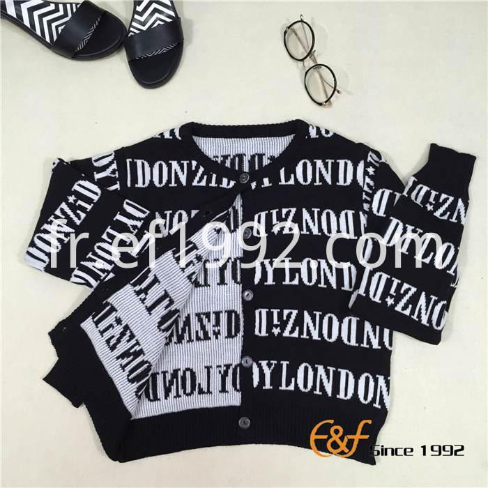 black-white jacquard cardigan sweater
