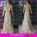 ED Bridal Luxury Long Sleeve Muslim High Collar Zipper Women Evening Dresses