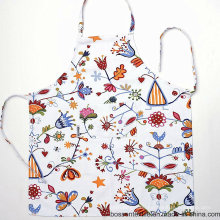 Custom Made Cotton Floral Printing Flower Pattern White Cooking Women′s Bib Apron