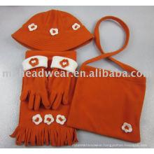 Kids polar fleece hat, scarf, gloves and bag set