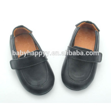 Latest style plain black shoes boy baby shoes