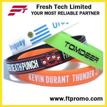 Venda Por Atacado Wristband Pure Cor Silicone Com Seu Logo