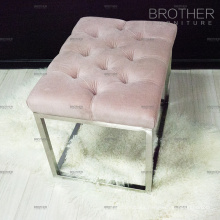New design pink steel legs sex furniture ottoman stool