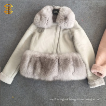 OEM Wholesale Fashion Women Winter Jacket Short Leather Fur Coat Jacket
