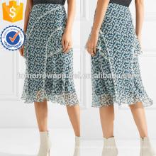 Ruffled Floral-impressão Crinkled Silk-chiffon Midi Saia Fabricação Atacado Moda Feminina Vestuário (TA3061S)