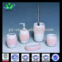 Artículo de cerámica rosado del hogar del cuarto de baño 5pcs