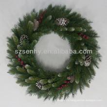 PVC Artificial bayas rojas de Navidad corona