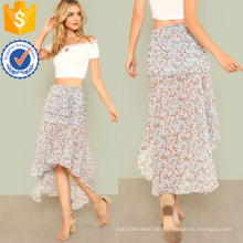 Geraffte Calico Print Dip Hem Rock Herstellung Großhandel Mode Frauen Bekleidung (TA3087S)