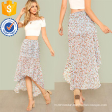 Ruched Calico Print Dip Hem Skirt Manufacture Wholesale Fashion Women Apparel (TA3087S)