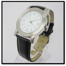 Qurtz Legierungs-Leder-Uhr-Schwarz-Lederband-Legierungs-Kasten-Uhren