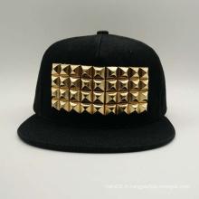 Bouchon de hip-hop Snapback Logo en métal à la broderie plate (ACEK0064)