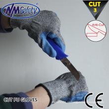 NMSAFETY 13 gauge azul pu recubierto corte guantes de trabajo guantes de corte y punción resistentes