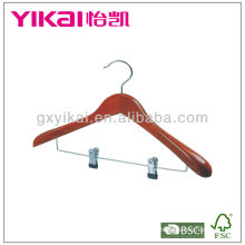 Cherry color wooden suit hanger with wide shoulders metal clips for trousers
