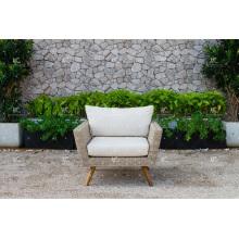High End Fabulous Design Poly Synthetische Rattan Sofa Set mit hohen hölzernen Beinen für Outdoor Garten oder Wohnzimmer Wicker Möbel