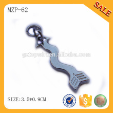 MZP62 China manufacturer OEM high quality custom silver metal zipper puller rust-free