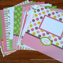 Alta qualidade personalizado scrapbooking papel desenhos padrão pacote de papel