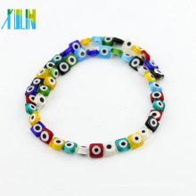 Großhandel Murano Glasperle Y0007 Flat Square Türkei Evil Eye Perlen für DIY Schmuck Armband machen
