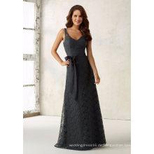 Lace Sash Grey Hülle Abend Brautjungfer Kleid für Braut Hochzeit