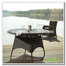 Audu Black Rattan 100cm Round Dining Table