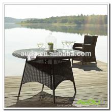 Audu Black Rattan 100cm Round Dining Table