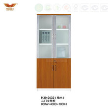 Modern Wooden Office Furniture Filing Cabinet with Glass Doors (H30-0632)