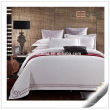 Capa de edredão e fronha com design bordado Luxo cama de cama branca