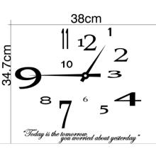Nova etiqueta do relógio de parede removível moderna diy