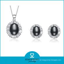 Encantador conjunto de jóias de prata nobre com design personalizado (J-0143)