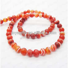 Perles rondes en agate rouge rayé / 4mm / 6mm / 8mm / 10 / mm / 12mm grade A