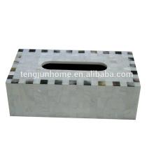 Chinesische Süßwasser-Shell und schwarze Schale gemischte Rechteck-Tissue-Box