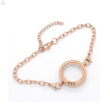 Nueva pulsera vendedora superior de la cadena 316l, joyería flotante de la pulsera del cristal del medallón del oro del roce