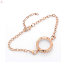 New top selling 316l chain bracelet, roce gold floating locket glass bracelet jewelry