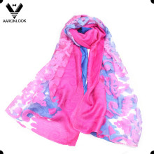 2016 Последняя мода Леди жаккард и резка цветов хлопка вискозный шарф