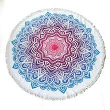 Custom made printed microfiber round beach towel with tassel fringe