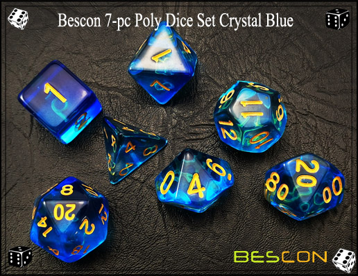 Crystal Blue Dice Set-5