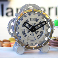 Silver Gear Table Clock Reloj para niños