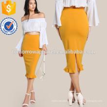 Split Ruffle Hem Saia Lápis Fabricação Atacado Moda Feminina Vestuário (TA3071S)