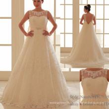 2017 Vestido de noiva com vestido de noiva com bordos bordados de lantejoulas Beads Cristais Casamento nupcial no pescoço de barco