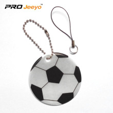 Reflective PVC Foam Leather Football White KeyChain