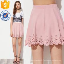 Laser découpé ourlet festonné texturé jupe fabrication en gros de mode femmes vêtements (TA3079S)