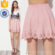 Corte a laser Scallop Hem Textured Skirt Fabricação Atacado Moda Feminina Vestuário (TA3079S)