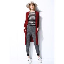 Nova moda senhoras casaco de casaco de lã camisola