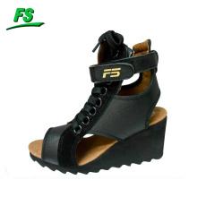 Leather fashion hidden wedge sneakers women