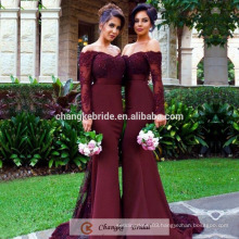Bergundy Sexy Bridesmaid Dresses Mermaid Applique Beads Long Sleeve Wedding Party Bridesmaid Dress 2017